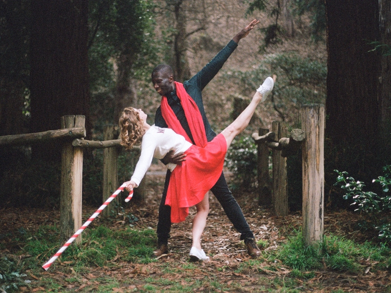 Brandon Alexander partnering with Cassidy Isaacson in The Christmas Ballet costumes, photo by Terez Dean Orr