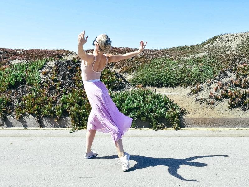 Lauren dancing near Ocean Beach.