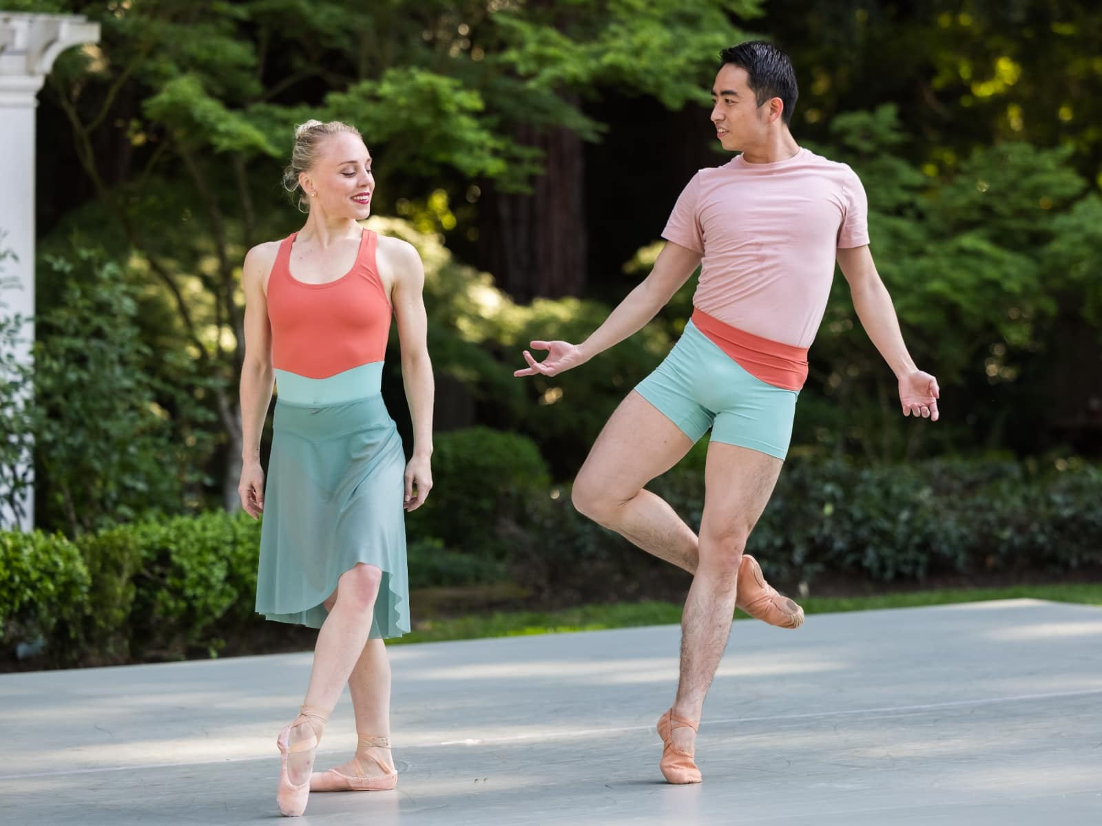 Meng and Lauren dancing together.