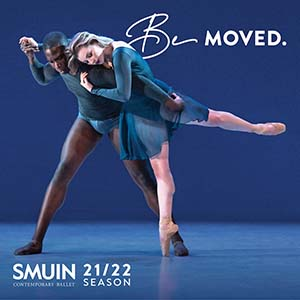 Be moved on a photo of two ballet dancers in blue with smuin contemporary ballet 21/22 season